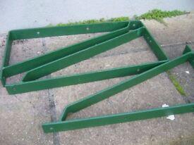 3 large heavyduty iron trangular support brackets. 24inch long x 12inch high southbourne