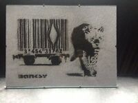 BRAND NEW - FRAMED BANKSY BARCODE FREEDOM TIGER POSTER - £10 - NO OFFERS