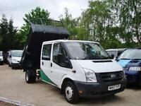 2008 FORD TRANSIT 2.4TD 350 LWB Crew Cab Tipper ONLY 69,000 Miles