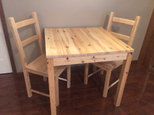 IKEA TABLE WITH TWO CHAIRS.