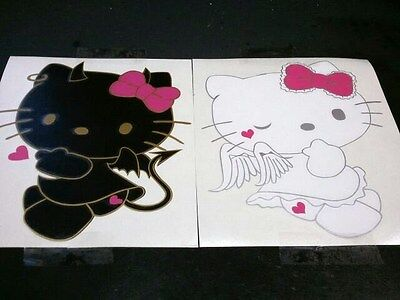 HELLO KITTY ANGEL AND DEVIL CAR DECALS (COMES IN A PAIR) - Angel And Devil