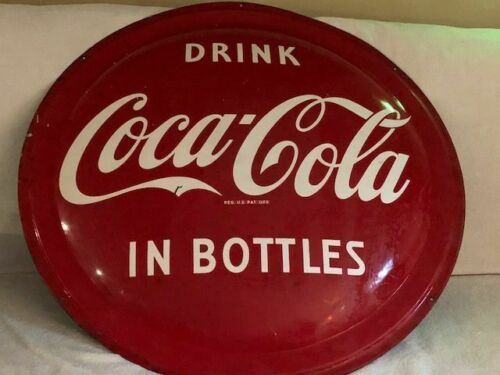 "VINTAGE 1953 COCA COLA ORIGINAL 36"" ROUND METAL SIGN  BEING SOLD BY SECOND OWNER"