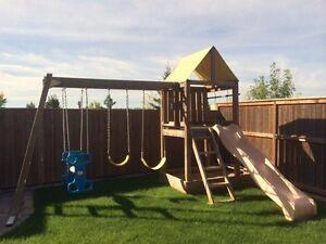 Custom built play structure - swings, slide, glider & sandbox