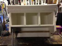 Shabby Chic Storage/Shelf Unit & Towel Holder
