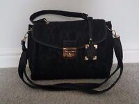 Black Lace Satchel Bag with Gold Detail