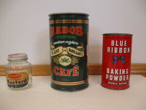 OLD TIN CANS & 1 GLASS JAR - OFFERS