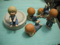 Set of 5 Country Cousins (Girls & boys) bisque figurines