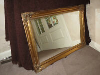 Super retro wall mirror, vintage gold frame & ornate detail, glass is clean, suit table or fireplace