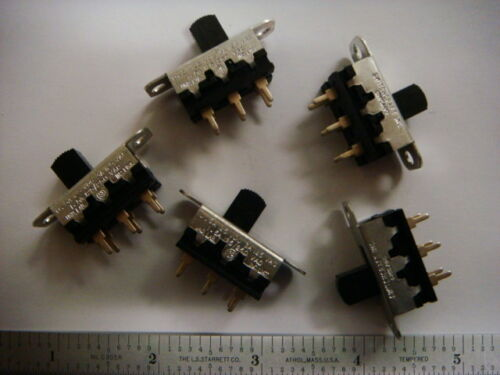 ONE Lot of 35 SWITCHCRAFT DPDT Slide Switches 11A-1534 - New and Unused