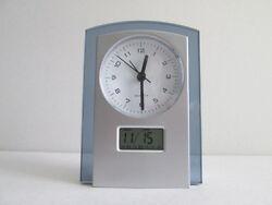 VINTAGE DUAL ANALOG DIGITAL CLOCK-CALENDAR-LCD-ALARM CLOCK-LIGHT.SILVER COLOR *