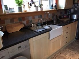 Ash shaker style kitchen for sale with Whirlpool dishwasher, gas hob, electric oven and Belfast sink