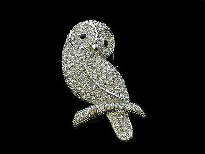 Absolute Simply Quality Beautiful Owl Brooch Silver Tone
