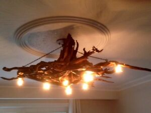All wood chandelier - custom made from driftwood