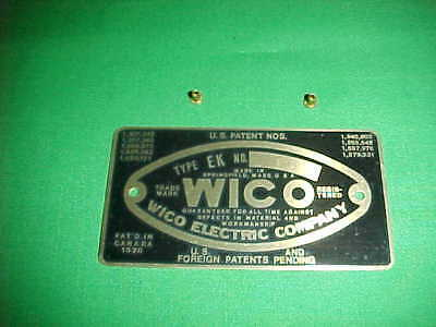 Wico Ek Magneto Mag Name Plate Oem New Hit Miss Stationary Gas Engine Tag Badge
