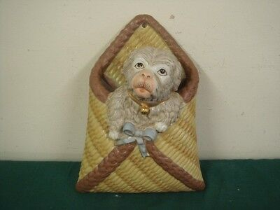 Wall Hanging Continental Porcelain Figure Vase  Puppy Dog in Basket