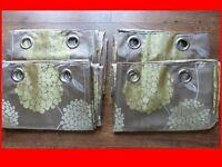 "rings curtains 66x90"" green olive dark beige"