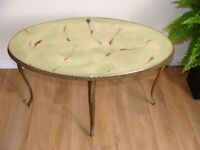 1970's Green Oval Coffee Table