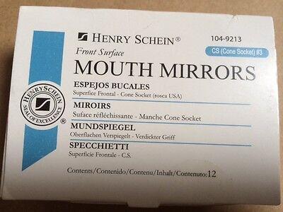 Dental Henry Schein  Mouth Mirror Front Surface Cone Socket  3  12 Box   Miltex