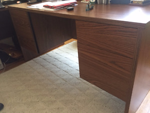 Solid wood 2 pedestal desk, credenza and bookshelf