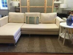 Lounge suite: Modern design, 2 pce, cream macrosuede with chaise, exc