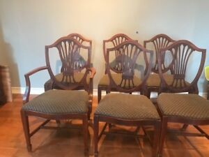 Classic Antique Mahogany Shield Back Dining room chairs