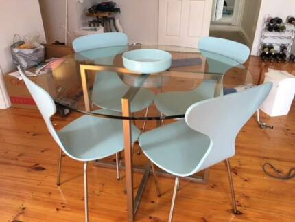 Glass Dining Table and Duck Egg Blue Chairs in great condition
