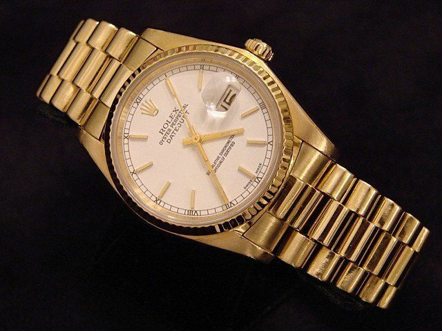 Mens Rolex Solid 18k Yellow Gold Datejust W/white Dial & President Style Band