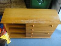 Solid Pine chest of drawers needs 2 knobs nice quality John Lewis needs a polish