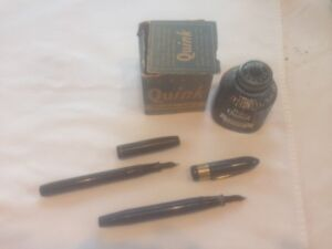 Rare Quink Vintage Ink bottle with Ink and 2 fountain pens