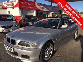 BMW 3 SERIES 2.5 325CI SPORT 2d 190 BHP CONVERTIBLE FULL BLACK (silver) 2002