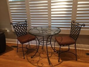 Indoor Wrought Iron Glass Bistro Set with cushions