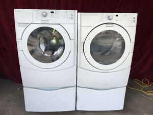 "MAYTAG 27"" FRONT LOAD WASHER & ELECTRIC DRYER W/ PEDESTALS"