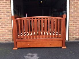 Lovely sleigh cotbed and dresser set