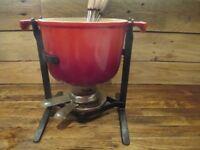 Red Vintage Cast Iron Fondue by Le Creuset