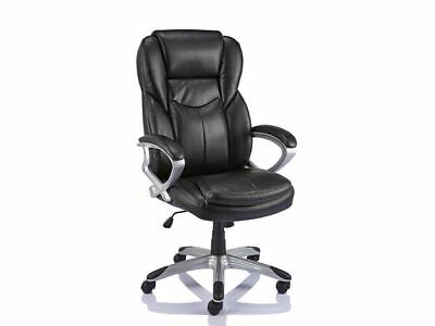 STAPLES 'GIUSEPPE' BLACK EXECUTIVE LEATHER OFFICE MANAGERS CHAIR + FREE 24H DEL