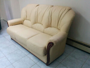 Luxurious Italian leather sofa and chair