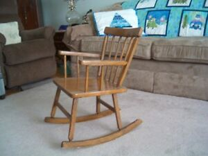 vintage 40 year old children's child's wooden rocking chair