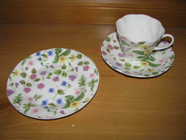 EXCELLENT ROSINA QUEENS COUNTRY MEADOW SNACK SET CUP SAUCER & BREAD & BUTTER