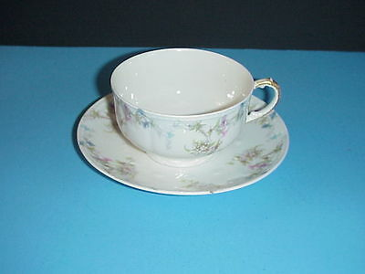 Antique Charles Field Haviland GDA Cup & Saucer Set Pink Blue Flowers C. 1900 Field Cup Set
