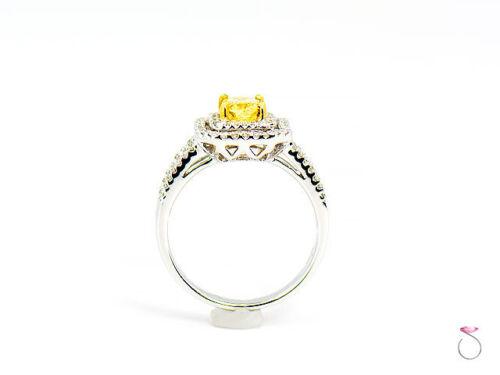 Natural Fancy Intense Yellow Diamond Ring, 1.02 ct. 18K White Gold 1.40 CTW. GIA 8