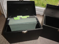 TWO Black strong lockable Filing organisers