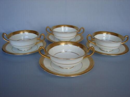 Set 4 Antique Mintons K153 Gold Encrusted Cream Soup Bowls & Saucers c.1919-1925