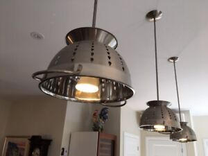 3 Lampes de cuisine stainless style