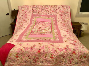 Beautiful hand-made pink fairy quilted bedspread Queen sized