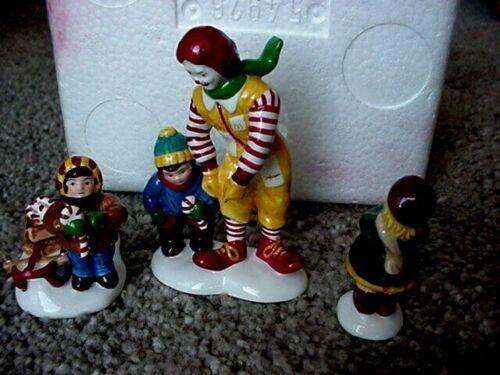 1997 3 PC RONALD McDONALD Department 56 Christmas Snow Village Kids Candy Canes