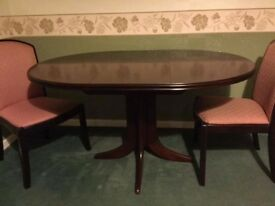 Parker Knoll Mahogany Circular Table and Chairs