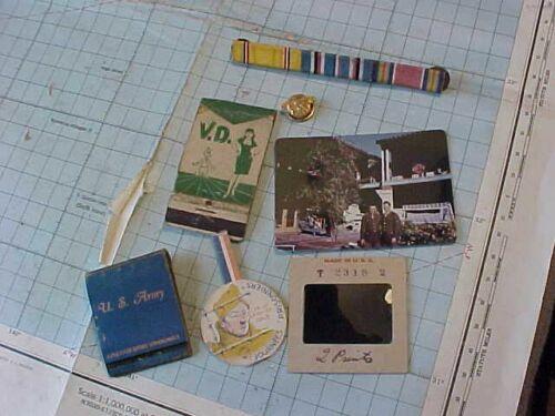 ORIGINAL WWII US ARMORED GI LOT - COLOR PHOTO / SLIDE MATCHBOOKS ETC