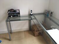 Glass L-Shaped Desk in Excellent Condition