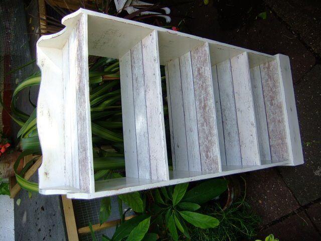 bookshelf display decoupage