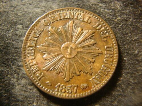 Uruguay BU AU Glossy 1857-D Sun Face Copper Five 5 Centesimos ALDZ